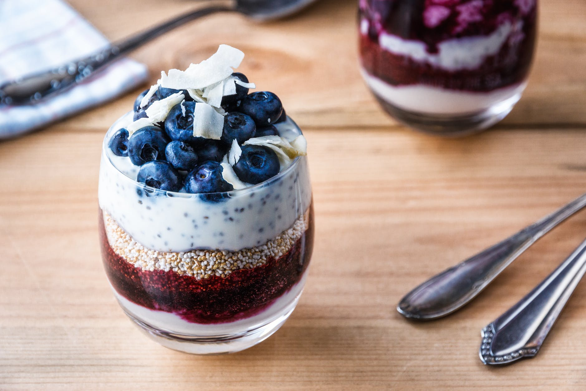 blueberries in clear parfait glass